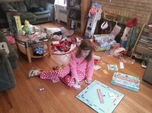 Skylar playing a game of Monopoly by herself. My daughter has a deep desire to play with other kids but no confidence to do so. Seamus has always been the one child besides her sister Alyssa she's felt at ease around.